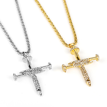 цены Fashion Hip Hop Jewelry Cross Pendant Gold Silver Metal Iced Out Rhinestone Nail Cross Pendant Necklace Chain Gift For Women Men