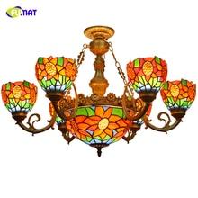 купить FUMAT Vintage Chandeliers Sunflower Shade Stained Glass Lampshade led light lamp for Living Room Restaurant Home Lighting дешево