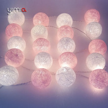 YIMIA White Pink Cotton Ball Lights LED String Christmas Lights Outdoor Fairy Holiday Lights Garland Baby LED Night Lights gifts cheap CN(Origin) 220V Beads