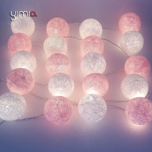 yimia whitepink cotton ball lights led string christmas lights outdoor fairy holiday lights garland
