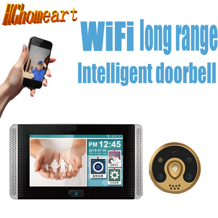 HGhomeart Smart cat eyes wireless connection electronic visual doorbell Mobile detects visitors alerting the automatic alarm the eyes of the cat