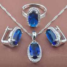 Elegant Women's Blue Zirconia 925 Sterling Silver Jewelry Sets Necklace Pendant Earrings Rings Free Shipping TZ0167