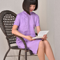 2014 Xiaxin Chinese Style Stand Collar Cheongsam One Piece Dress Pure Linen Loose Female One Piece