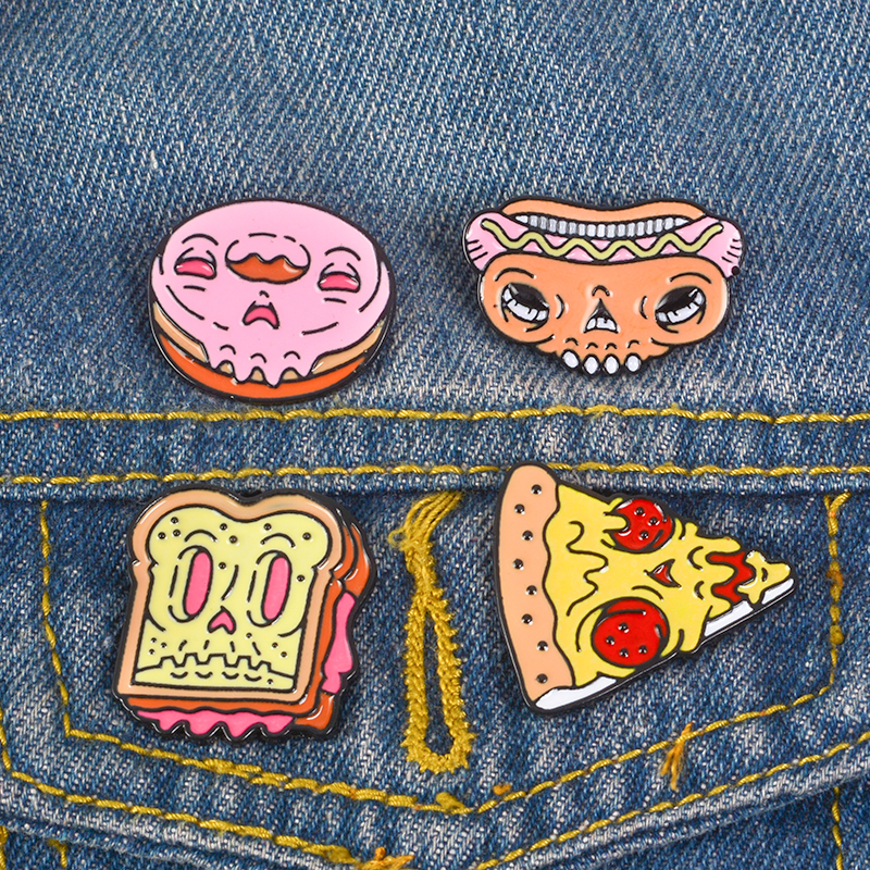 FOOD FACES OF HORROR  PIN BADGES FUNNY METAL DOUGHNUT PIZZA HOTDOG SANDWICH