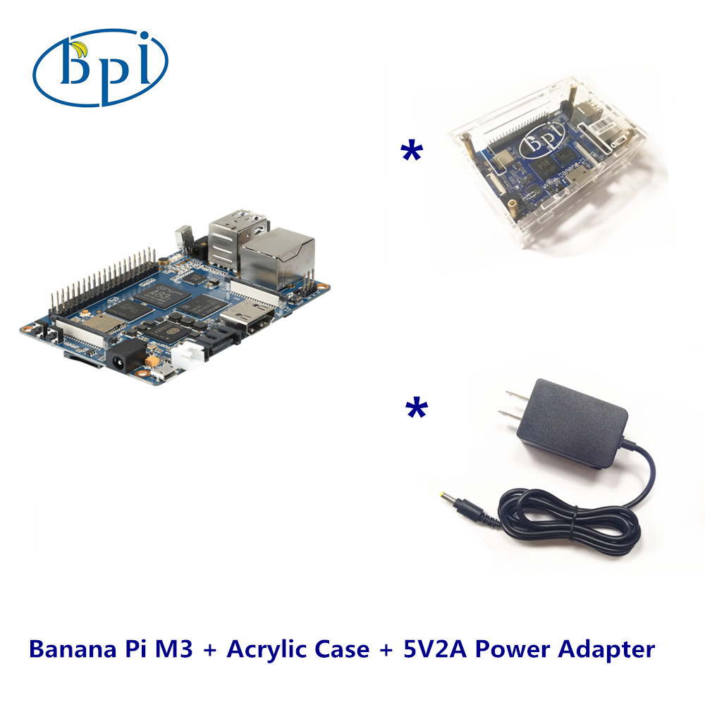 Banana Pi M3 +Acrylic Case+ 5V2A DC Power SetBanana Pi M3 +Acrylic Case+ 5V2A DC Power Set
