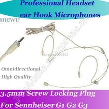 MICWL Beige Dual ear Wireless Headset Microphone for Sennheiser G1 G2 G3 Beltpack System