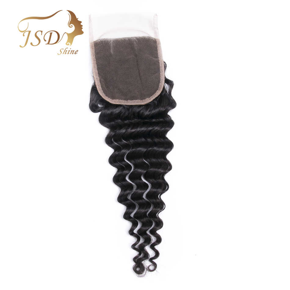 JSDShine 4x4 Brazilian Deep Wave Human Hair Bundles Swiss Lace Closure Middle Part With Bleached Knots Remy Hair 8''-20''