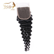 JSDShine 4x4 Brazilian Deep Wave Human Hair Bundles Swiss Lace Closure Middle Part With Bleached Knots Remy Hair 8''-20''(China)