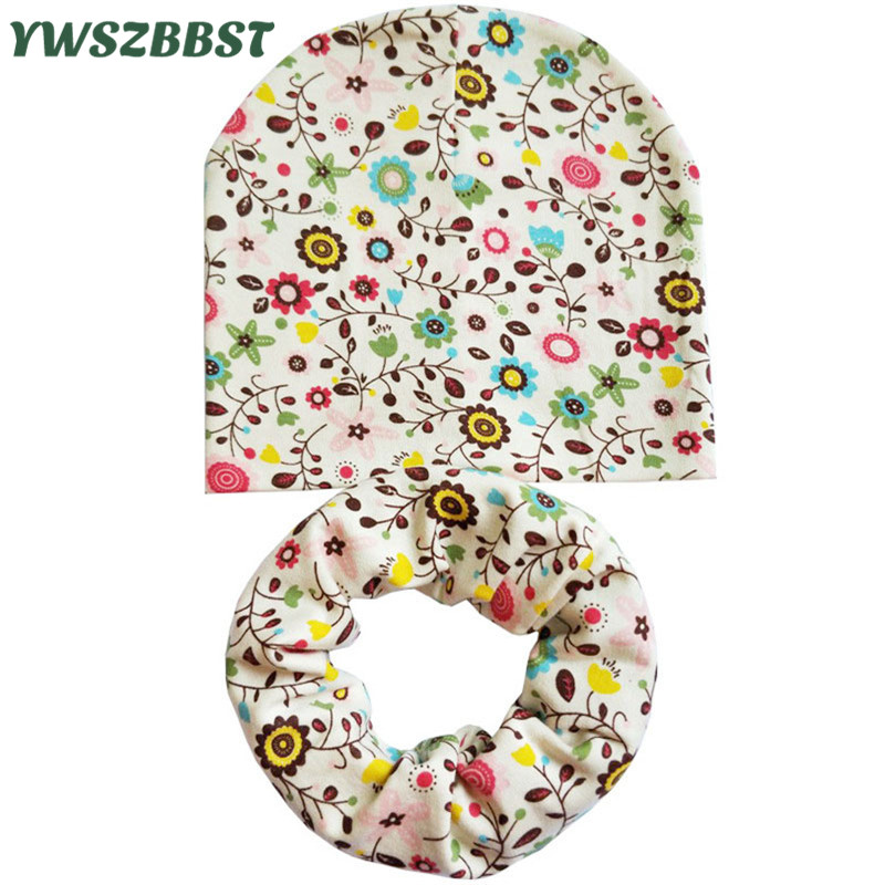 New Autumn Winter Cotton Baby Hat Children Cap Scarf Flower Leaves Print Boys Girls Beanie Cap Kids Knitted Baby Cap Photo Props