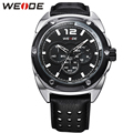WEIDE Men Fashion Casual Quartz Watch Analog Display Relogio Masculino Black Leather Strap Watches 30m Waterproof Wristwatches
