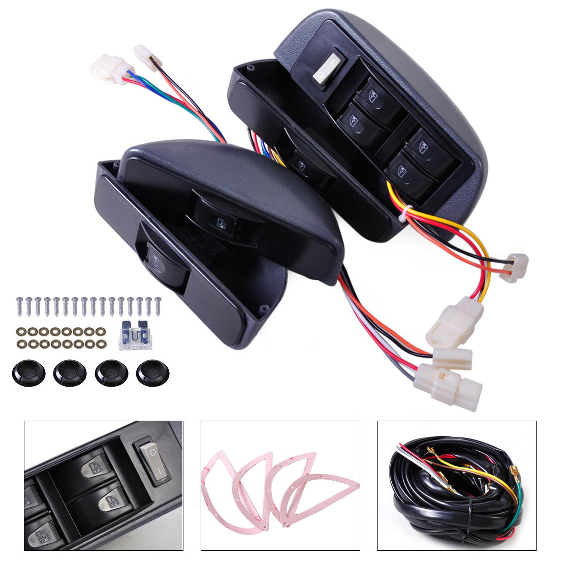 Citall Universal Grey Power Window Lock Kit 4 Rocker Switch 12v Fit Volkswagen Golf Wiring Harness For Car Doors Vw Polo Ford Hyundai Nissan Toyota In Switches Relays From