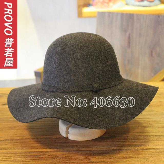 Casual Solid Large Brim Wool hats for women Chapeu Feminino Felt Floppy Sun hats Female Free Shipping PWFR-107