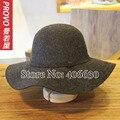 Sólido ocasional grandes de lana de ala sombreros para para Chapeu Feminino sintió sombreros de Sun mujer envío gratis PWFR-107