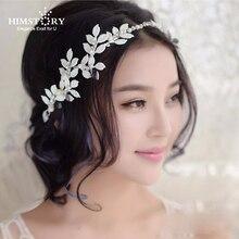 Himstory Elegant White /Red Leaves Crystal Pearl Headband Bridal Hair Accessories Wedding Hairband Tiara Head Piece Fashion