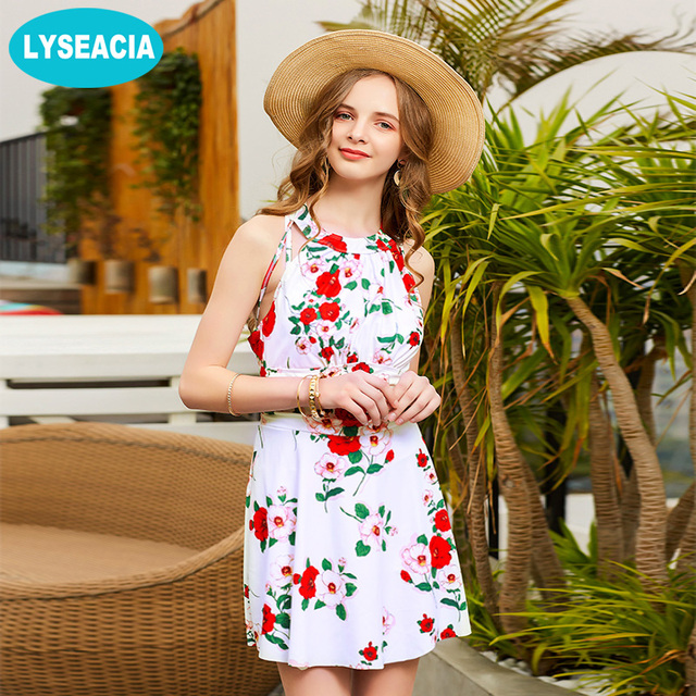 481322c9027 LYSEACIA Retro High Neck Swimsuit Floral One Piece Swimwear Women Sleeveless  Beach Skirts for Swimming Vintage Swimming Suit