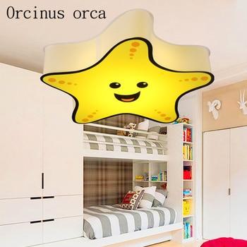 Cartoon starfish smiling face LED ceiling lamp dimming children's room bedroom lamp kindergarten decorative lamp free shipping