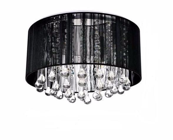 2017 Moderne Runden Led Kristalldeckenleuchten Schwarz Silber Stoff Schlafzimmer Wohnzimmer Indoor Hause Lampe
