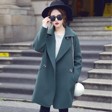 Women Thicken White Green Palto Chinese Maxi Woolen Down Coat Autumn Long Warm Wool Jacket Manteau Femmee Korean Cloak Winter