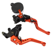 Universal CNC 7/8 22mm 125-400cc Orange Adjustable Motorcycle Brakes Clutch Levers Master Cylinder Reservoir For KTM Suzuku D25