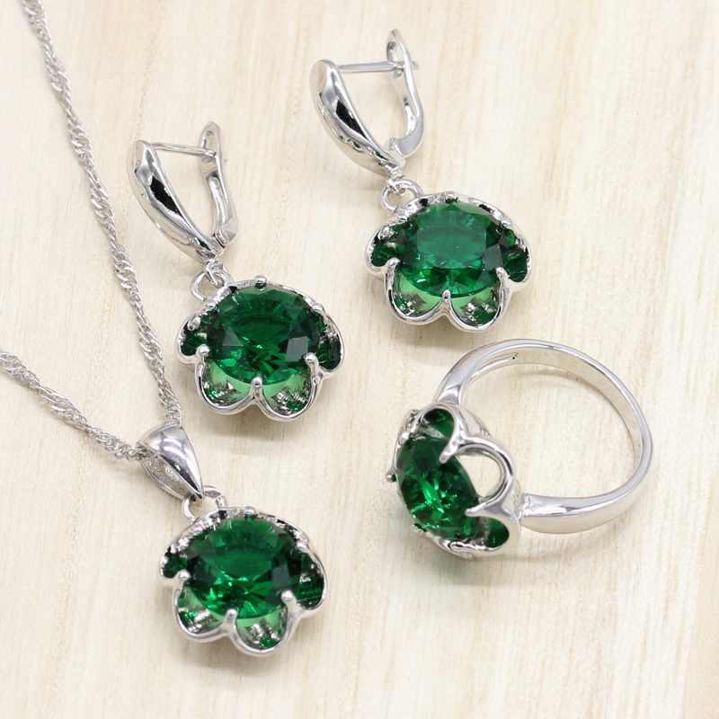 เงิน 925 เครื่องประดับชุดแต่งงานชุดเครื่องประดับสีเขียว Zirconia ต่างหูแหวนผู้หญิงชุดสร้อยคอจี้ของขวัญกล่อง