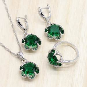 Wedding-Jewelry-Sets Necklace-Set Pendant Rings Gift-Box Zirconia-Earrings Silver Green