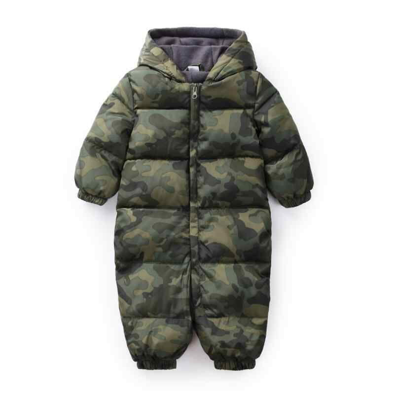 2019 Spring Winter Warm Baby Girls Boys Snowsuit Cotton Rompers Hoodies Camouflage Newborn Overalls Clothes Kids Jumpsuit JW6840