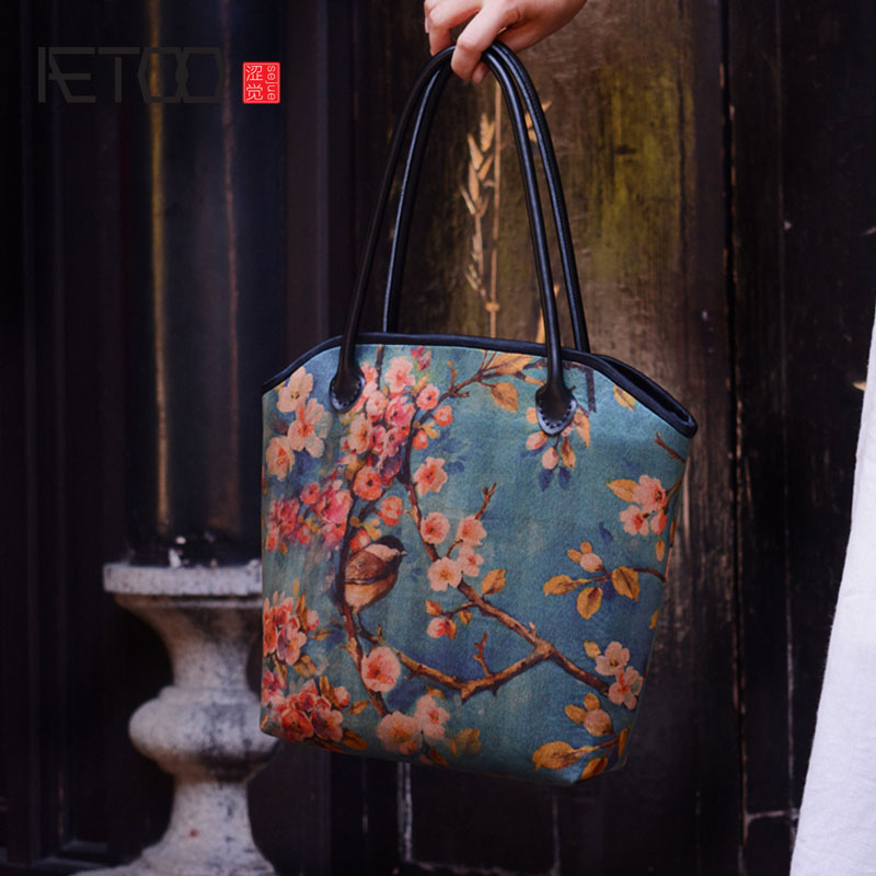 AETOO Original handmade custom silk silk fragrant silk handbag bag shoulder retro art dress cloth high-grade Chinese wind