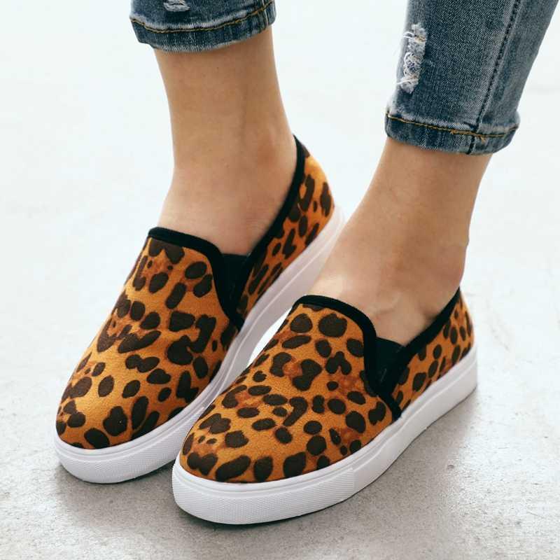 WENYUJH ผู้หญิงเสือดาวผ้าใบรองเท้าฤดูใบไม้ร่วงตัดรอบหัวรองเท้าผู้หญิงคุณภาพสูงแฟชั่นคลาสสิกรองเท้าผ้าใบ zapatos De mujer