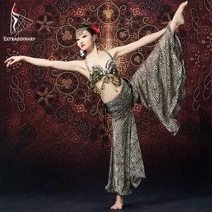 Image 2 - Женский костюм для танца живота, комплект из 2 предметов с бюстгальтером и брюками с цепочкой и металлическими монетами