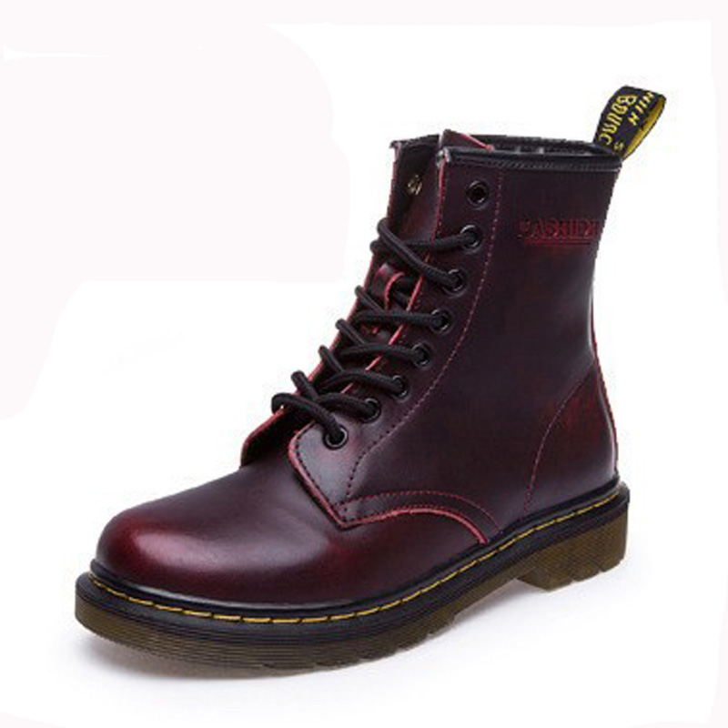 2017 New England Style Women Martin Boots autumn winter genuine leather Ankle boots Size 35 44
