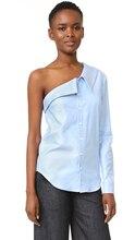 PADEGAO Street beat Fashion Irregular asymmetric One shoulder Long sleeve ladies shirt Blue stripe summer Casual women tops 2017