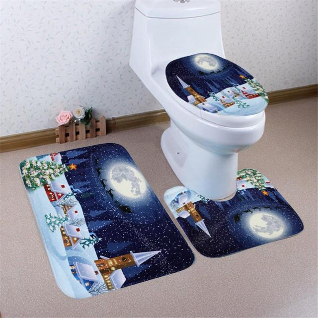 2017 NEW Winter Flannel Snowman Santa Claus Bathroom Mat Set Toilet Seat Cover Rug Carpet Christmas