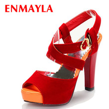 ENMAYER spring Thick heel platform sandals female black, red colors ankle strap women fashion shoes big size 34-45