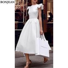 Elegant Popular White Ruffled Evening Dresses A-Line Sleevel