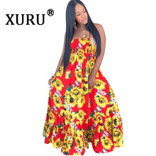 XURU Summer New Hot Women's Dress Sunflower Print Sling Dress Large Long Dress sunflower print strap dress