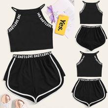 Женский комплект без рукавов для йоги, фитнес, свободный костюм, футболка на бретельках+ Стрейчевые шорты