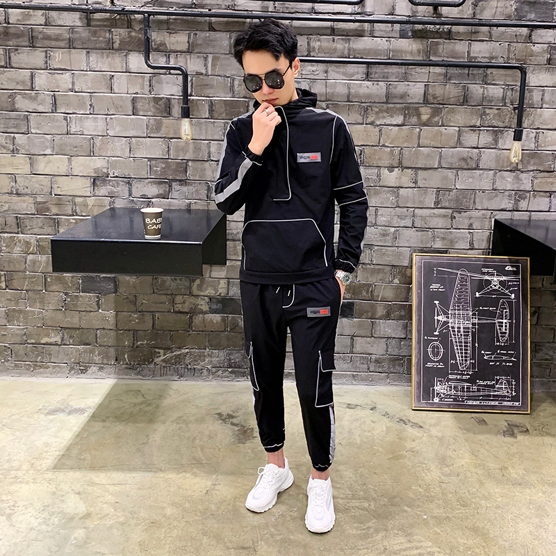 Image 4 - Tsingyi Reflective Multi pocket Shirts+Ankle length Cargo pants 2pcs Sets Tracksuit Men Women Couples Streetwear Reflect Sets-in Men's Sets from Men's Clothing