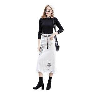 Image 5 - Phụ Nữ Trước Lỗ Chân Váy Denim 2020 Mới Thời Trang Xuân Hè Váy Dài Cao Cấp Áo Trắng Chân Váy Jean Plus Kích Thước 5XL