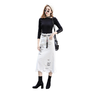 Image 5 - Women Front Hole Denim Skirt 2020 New Fashion Spring Summer Long Skirts High Waist Casual White Jeans Skirt Plus Size 5XL
