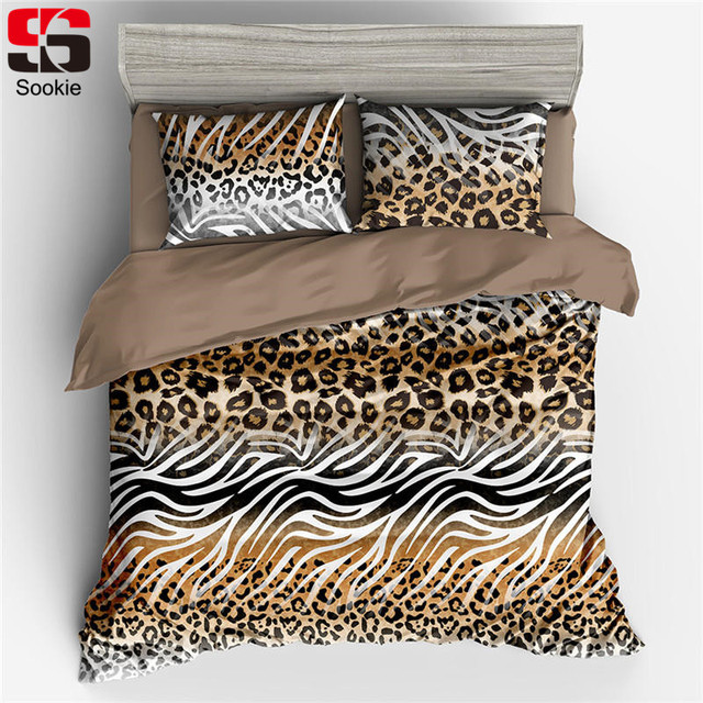92c2bf28122a Sookie Leopard Print Duvet Cover Sets Soft Bed Linen 3pcs Wild Print Queen King  Size Bedding Set Modern Style Bedclothes