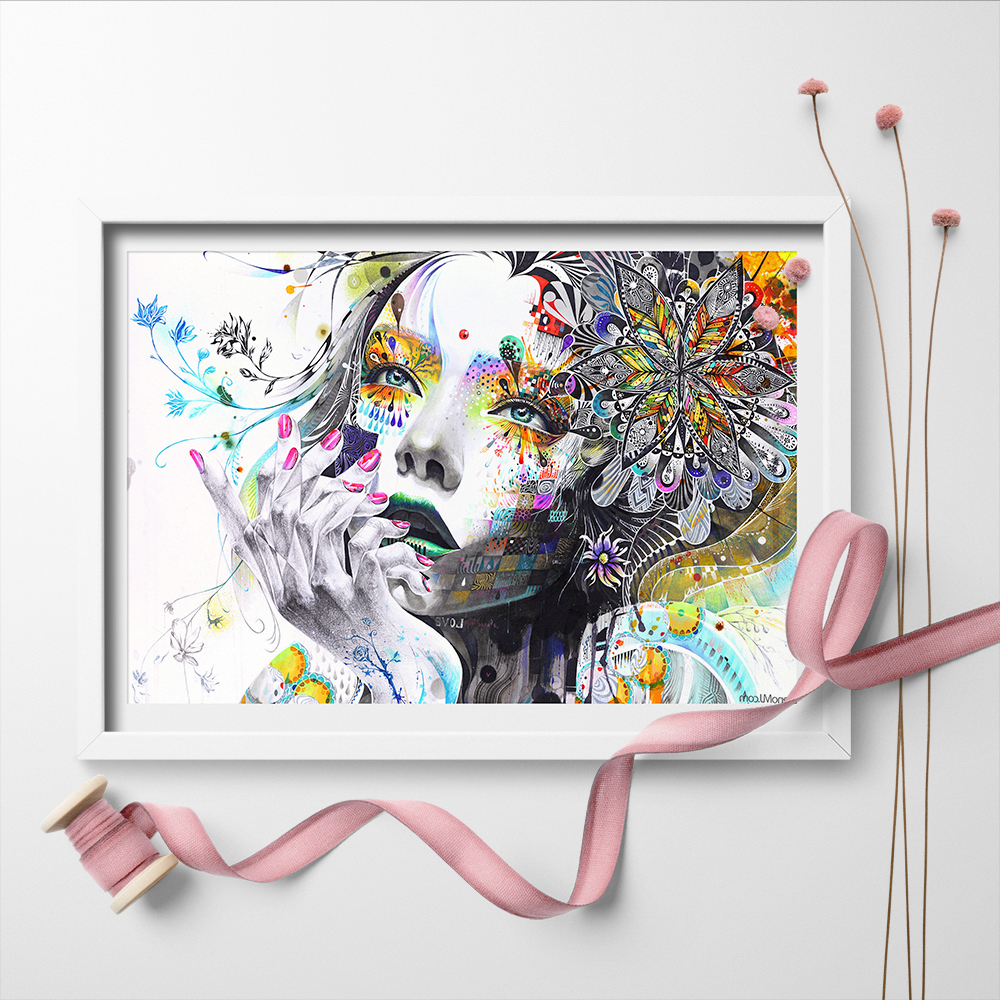 Modern Wall Art Abstract Girl With Flowers Unframed Canvas Painting For Home Bedroom Art Wall Decoration Wall Pictures Unframed in Painting Calligraphy from Home Garden