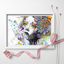 Modern Wall Art Abstract Girl With Flowers Unframed Canvas Painting For Home Bedroom Decoration Pictures