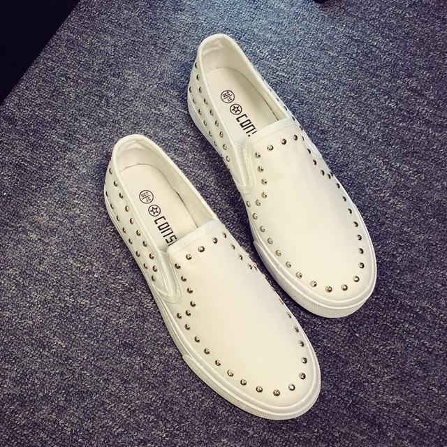 Free shipping  2016 autumn new fashion women shoes classical casual solid color rivets canvas loafers women casual shoes