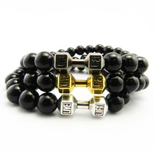 New Arrival Metal Barbell Jewelry for men 8mm Black Matte Natural Stone Beads yoga Fitness Fashion Fit Life Dumbbell Bracelets