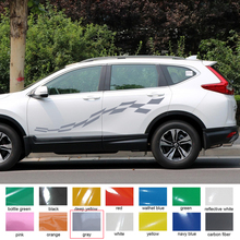 Car exterior 2 PC racing flag  side door stripe graphic Vinyl car sticker for rav4 2016 2017