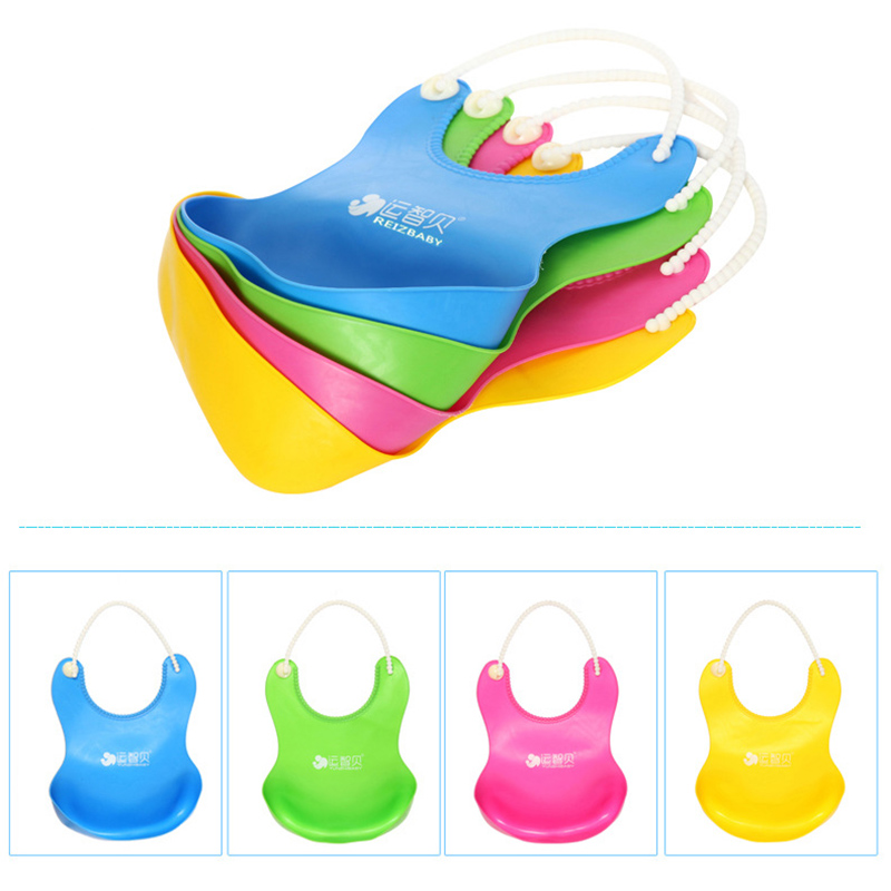 feeding saliva towel Solid 4 color no pattern waterproof baby bibs aprons dinner necessity silicone baby accessoriesnew design