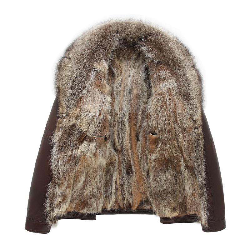 Precise Winter Real Raccoon Fur Coats Mens Winter Leather Jackets Shearling Tops Warm Outwear Overcoat High Quality Larger Size Black To Have Both The Quality Of Tenacity And Hardness Jackets & Coats Genuine Leather Coats