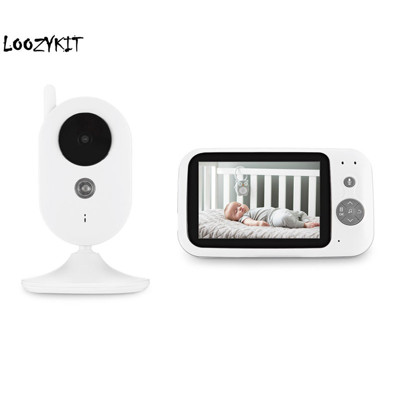 Loozykit 3.5 Inch Wireless Video Baby Monitor  Resolution Digital Sleep Monitoring 2Way Talk Night Vision Temperature Sensor
