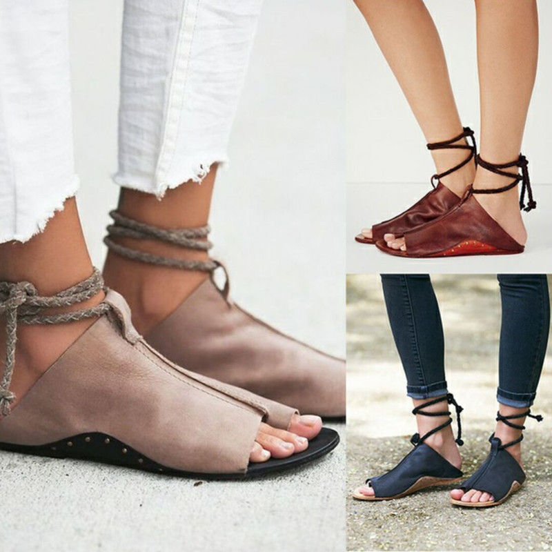 AGUTZM 2018 Women Summer Slippers PU Leather Lace Up Flat Slippers Women Shoes Flip Flops Strap Open Toe unicornio zapatos mujer pu leather panel lace up flare coat