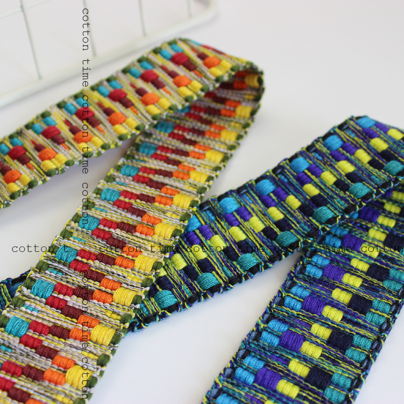 4yards lot Ethnic Woven Trim Webbing Thick Ribbons Lace Double side use fabric band boho accessories gypsy bag straps in Webbing from Home Garden